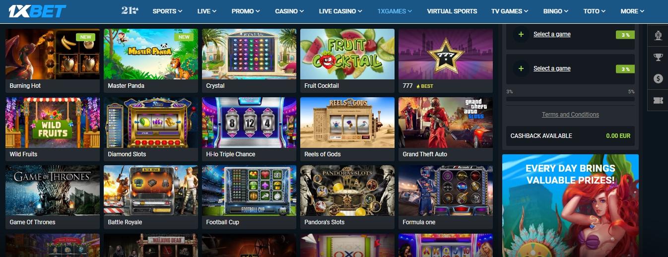 1xBet casino in Ghana